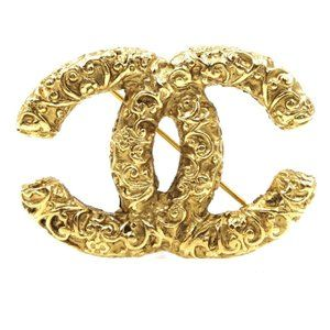 Chanel Cc Textured Gold Hardware Brooch Pin Charm